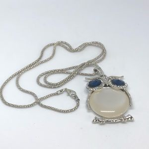 Owl Collection Silver and i Crystal Necklace